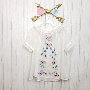 Umgee Embroidered Sweet Romance Top Sz S